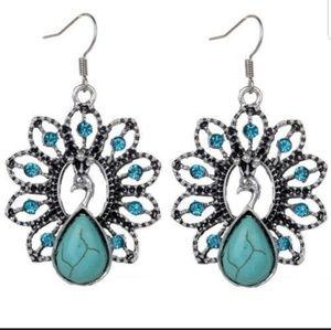 Peacock statement earrings - NWT